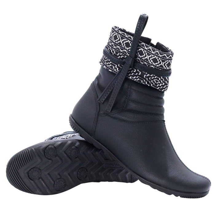 Bota town & country girls roma print cano baixo black