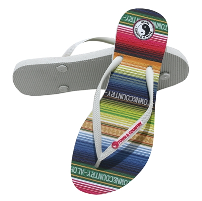 Chinelo town & country girls stripes branco